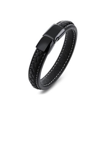 Glamorousky silver Simple Fashion Geometric Leather Bracelet CB62BAC2912E9BGS_1