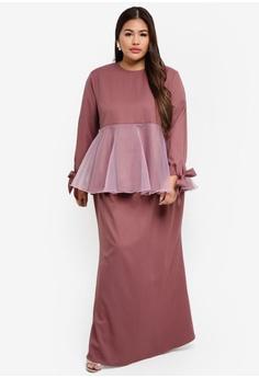 a857871b02 CURVA FABULOUS pink Ms Ayunina Peplum Organza Kurung 6DDEEACBF2D889GS 1