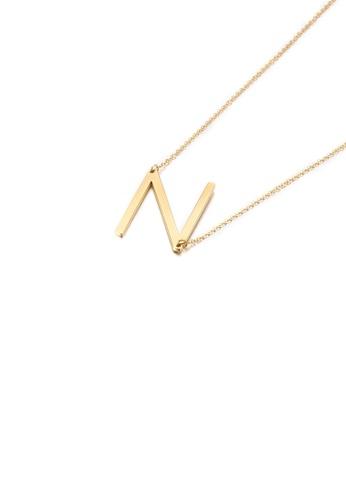 Glamorousky 銀色 簡約時尚鍍金色英文字母N 316L鋼吊墜配項鏈 0A1DBAC92C1B04GS_1
