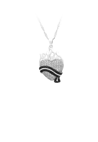 Glamorousky silver 925 Sterling Silver Heart-shaped Pendant with White and Black Cubic Zircon and Necklace 30F15AC823E25BGS_1
