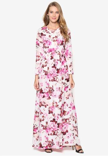Puspa 印花長袖長洋裝, 服飾esprit門市, 洋裝