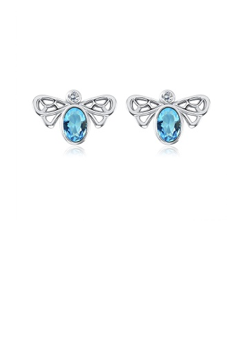 Glamorousky blue Simple and Elegant Bee Stud Earrings with Blue Austrian Element Crystal 5C187AC71651C4GS_1