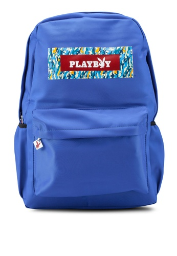 Playboy blue Printed Backpack E412AAC5887157GS_1