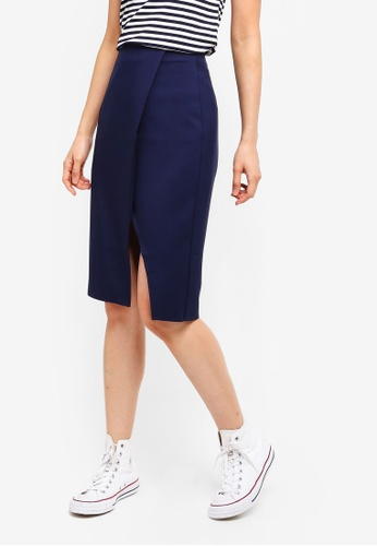 ZALORA BASICS navy Basic Wrap Slit Skirt 2EEC0AA473C408GS_1