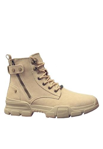 Twenty Eight Shoes 米褐色 豬巴皮側拉鏈中筒靴 VMB1117 90D4BSH7A47890GS_1