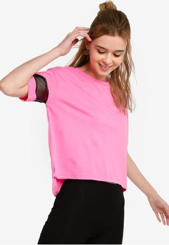 Something Borrowed 粉紅色 網眼袖拼接T恤 0FD29AA885D131GS_1