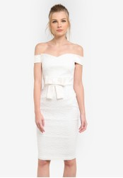 Vesper white Zara Lace Pencil Dress With Bow Detail VE733AA0S792MY_1