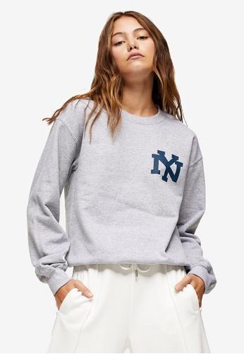TOPSHOP grey Grey Marl New York Sweatshirt CC867AAE611865GS_1
