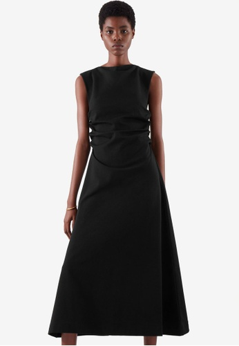 COS black Gathered Midi Dress 85CB4AA17EDB07GS_1