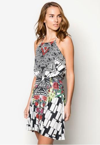 Lucilla 削肩束腰印花洋裝zalora 包包 ptt, 服飾, 洋裝