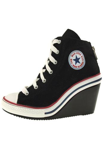 Maxstar 黑色 新款韩国鞋775-BZ時尚帆布布混合女黑色 US Women Size MA345SH89HBITW_1