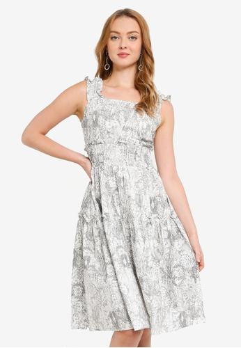 Hopeshow white Floral Midi Dress F8BA7AA586534CGS_1