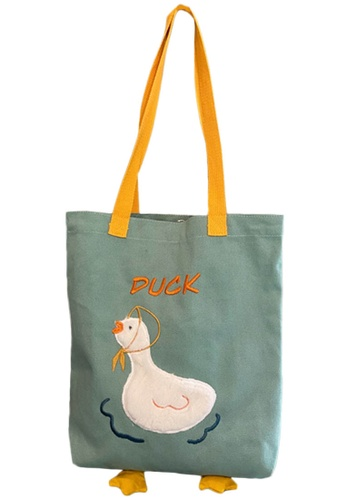 Sunnydaysweety green Embroidered Duckling Canvas Tote Bag A092515GR 42BDBAC249CA2DGS_1