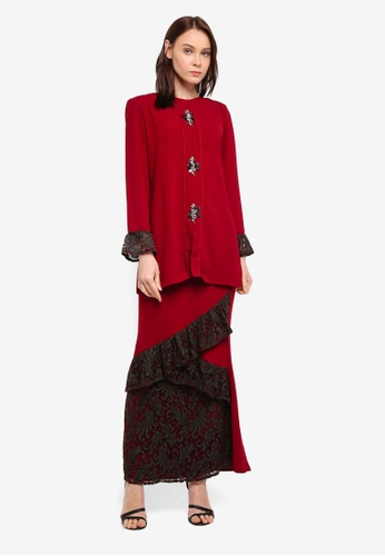 peace collections red Flute Sleeves Kurung FF6F5AA50A75B2GS_1