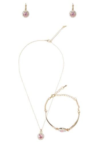 仿鑽寶zalora退貨石圓牌吊墜首飾組合, 飾品配件, 項鍊