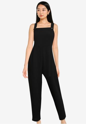 ZALORA BASICS black Pinafore Jumpsuit With Belt 02754AAA9C4B2FGS_1