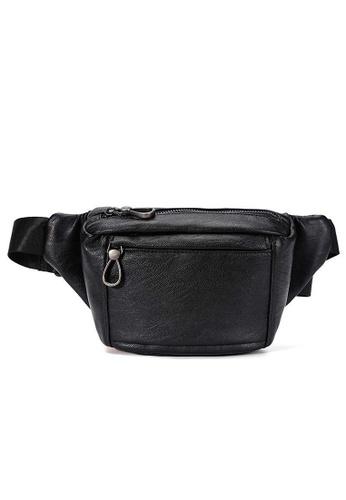 Lara black Plain Zipper Belt Bag - Black 9B2CBAC286654CGS_1