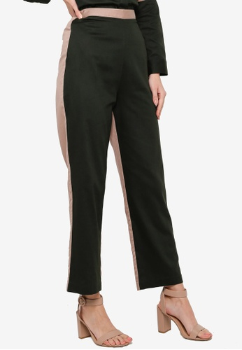 ZALIA BASICS brown and green Panelled Cotton Pants BD2BFAA357A40BGS_1