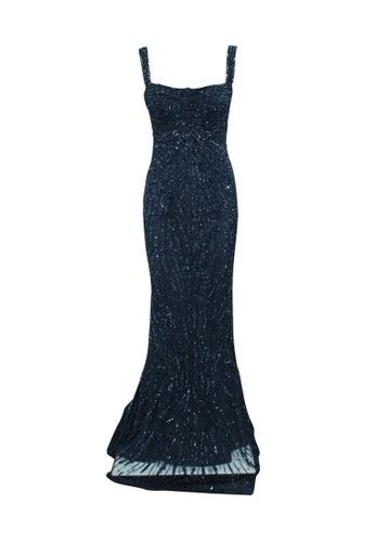 Rachel Gilbert 藍色 rachel gilbert 海軍藍色亮片魚尾連衣裙 996A3AABD10C25GS_1