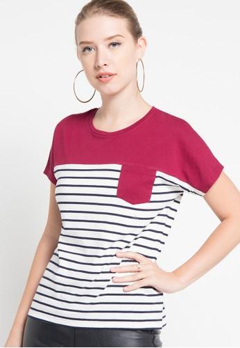 Bossini red S/S R/Nk Stripe & Col.Blk.Graphic Pocket Tee(Bl:24) BO894AA80SJRID_1