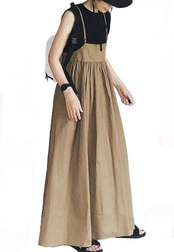 Sunnydaysweety beige Loose Pleated Sling Maxi Skirt A21031906 74A5FAA780E62AGS_1