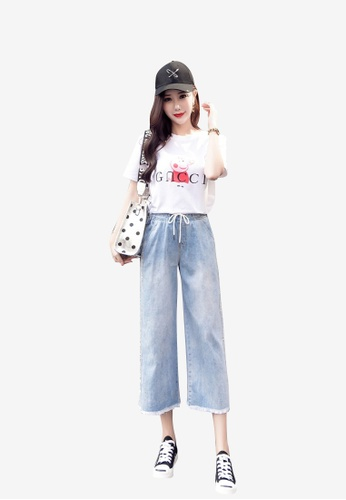 Lara blue Women Elastic Waist Ankle-length Pants 50C8DAA184D942GS_1