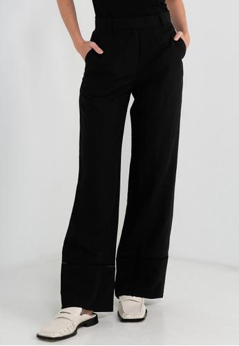 CK CALVIN KLEIN 黑色 亞麻女装裤 A7548AA44AB91BGS_1