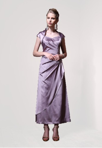 設計師款立領緞面放射摺長禮服, 服飾, 晚esprit手錶專櫃宴禮服