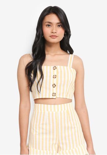 Miss Selfridge yellow Yellow Striped Cami 303C8AA5FFD622GS_1