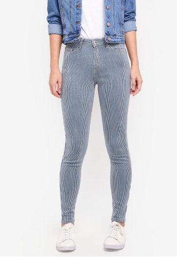 Miss Selfridge blue Ticking Striped Liz Jeans D3B83AA7CC5C1FGS_1