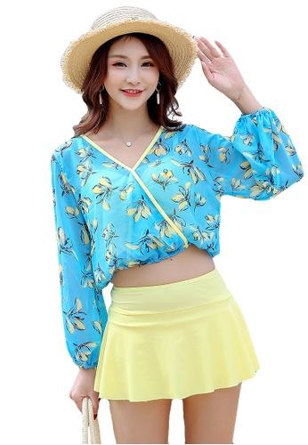 YG Fitness yellow and blue (3PCS) Simple Fresh Print Swimsuit Set D38B9USBB70F05GS_1