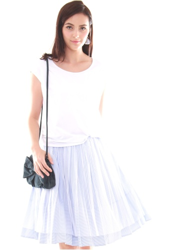 JOVET white Mock 2-Pc Tulle and Stripes Dress FC8EBAA5A37729GS_1
