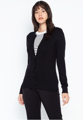 DEBENHAMS black The Collection - Col Crew Cardigan 724A2AA58D7522GS_1