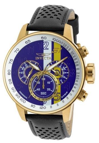 INVICTA blue and gold Invicta S1 Rally Men 48mm Case Black, Brown, White Leather Strap White, Yellow, Purple Dial Quartz Watch 19903 IN968AC0F5F3SG_1