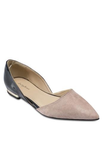 撞色esprit 香港側空平底鞋, 女鞋, 芭蕾平底鞋