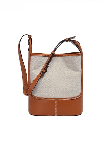 Twenty Eight Shoes Stylish Canvas Patch Faux Leather Color Contrast Bucket Bag JW FB-6767 18A8AAC01B179FGS_1