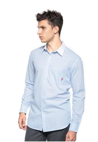 POLO HAUS blue Polo Haus - Woven Long Sleeve Shirt (Light Blue) PO783AA56MLBMY_1