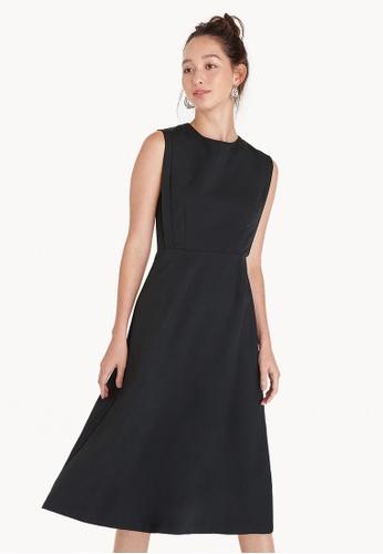 Pomelo black Midi A Line Empire Dress - Black 82023AADCD364DGS_1