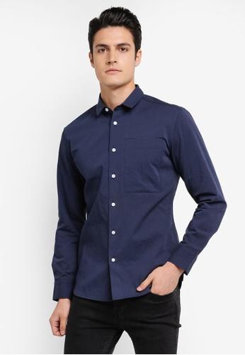 ZALORA navy Soft Cotton Twill Long Sleeve Shirt E1DB3AA1AF4542GS_1