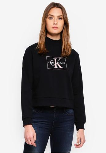 f04bb455afa Calvin Klein black A-Outline Monogram Sweatshirt - Calvin Klein Jeans  B440FAA25EBF37GS 1