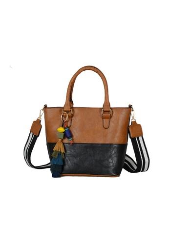 Zafiti brown and multi 2-Way Flap Crossbody Shoulder Bag A9DBEACEFAA07BGS_1