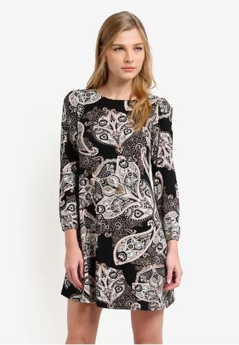Wallis black and multi Petite Stone Tie Back Paisley Swing Dress WA800AA0S2BRMY_1