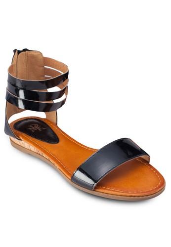 繞踝拉zalora 台灣鍊平底涼鞋, 女鞋, 鞋