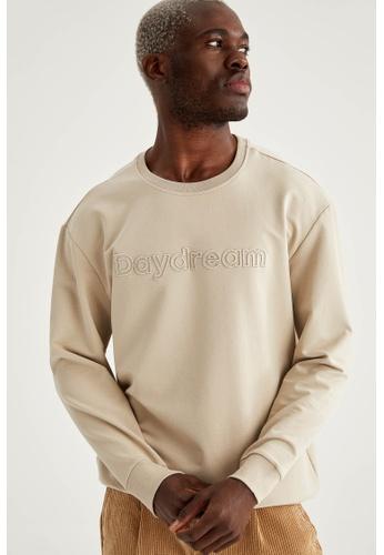 DeFacto grey Text-Motif Sweatshirt CDE7EAA582E3E3GS_1