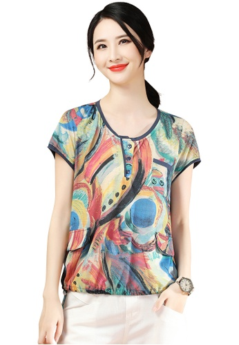 A-IN GIRLS multi Fashion Round Neck Printed T-Shirt 18CDEAA1AEA6C0GS_1