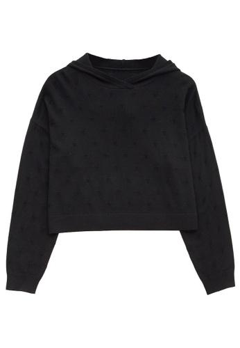 KLAPS black Merino Cropped Hoodie 609E0AA178DED3GS_1