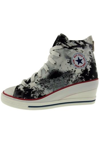 Maxstar Maxstar Women's 7H Zipper Fabric Low Wedge Heel Sneakers US Women Size MA168SH23CBKHK_1