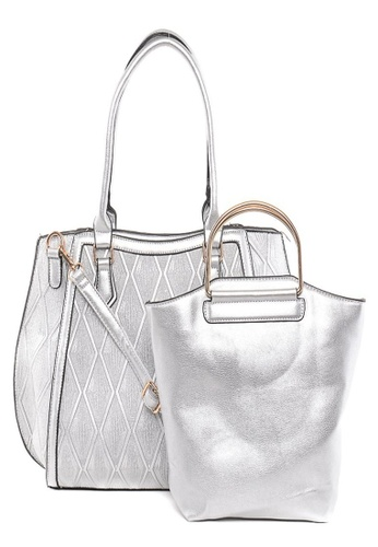 House of Bai silver European Style 2 in 1 Structured Top Handle Bag HO716AC0K2SJPH_1
