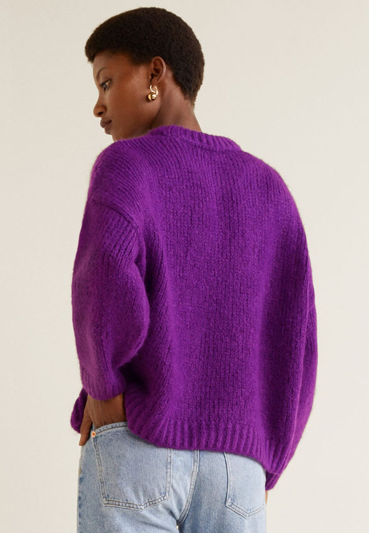 Knit Medium Sweater Mango Purple Chunky Xq06F