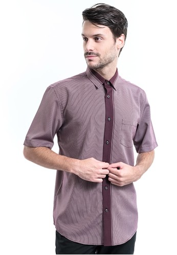 MANLY red Manly Tionic Maroon Regular Fit Polynosic Short Sleeve Shirt AFEE2AA41F17F5GS_1